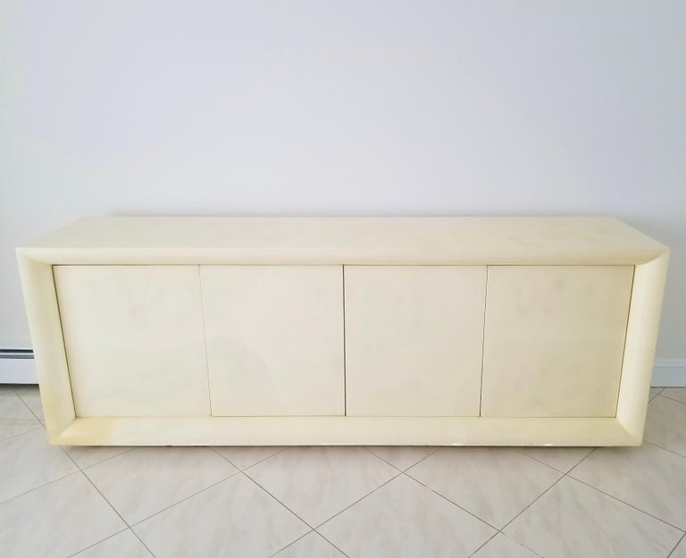 Parchment Lacquered Sideboard In Good Condition For Sale In Hingham, MA