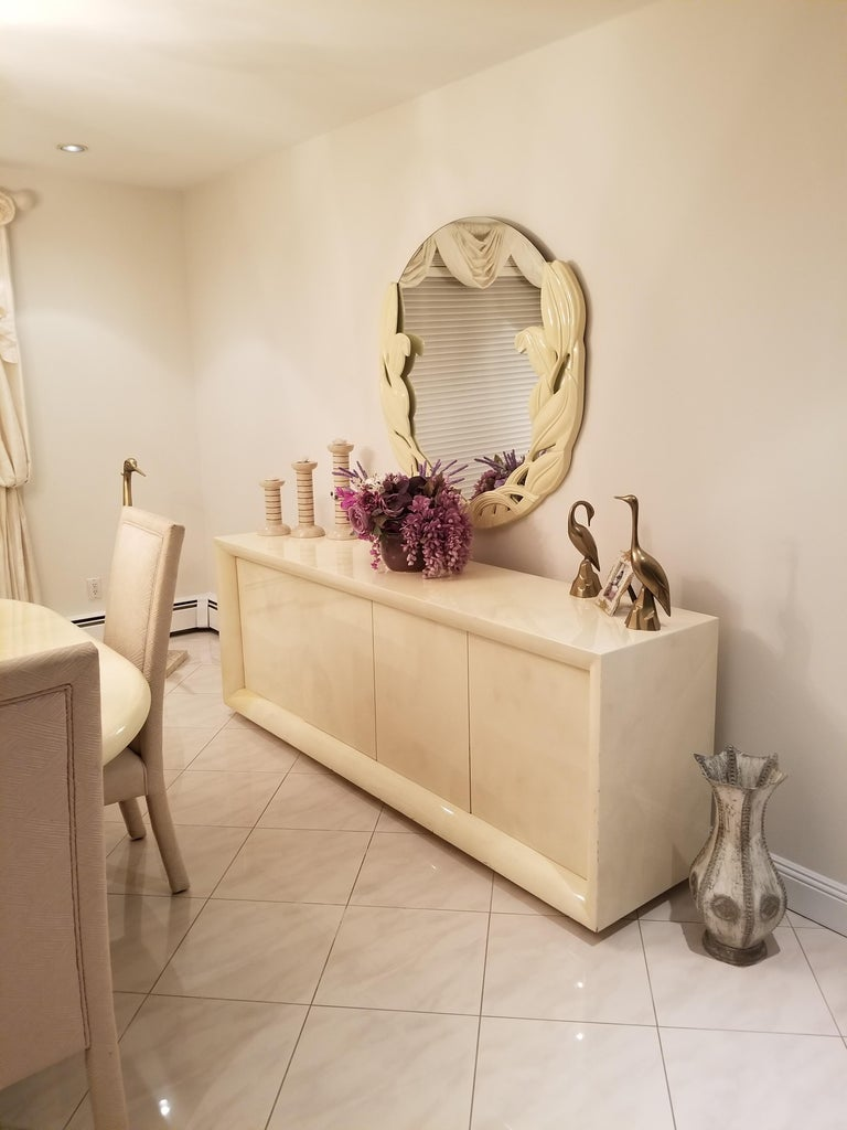 Parchment Lacquered Sideboard For Sale 1