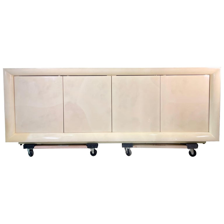 Parchment Lacquered Sideboard For Sale