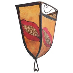 Parchment Moroccan African Art Wall Curved Sconce