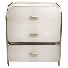 Parchment Night Stand with Brass Accents by Kifu Paris