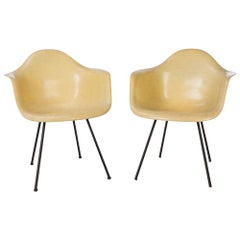 Parchment Pair (2) 1st Generation Zenith Eames DAX Dining Arm Shell Chair