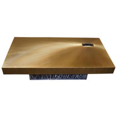 """Parchment """"Soleil"""" Coffee Table With Cracked Resin Base"""