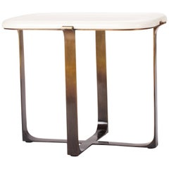 Parchment Top Rectangular Arch Table with Bronze Ombre Finish by Elan Atelier
