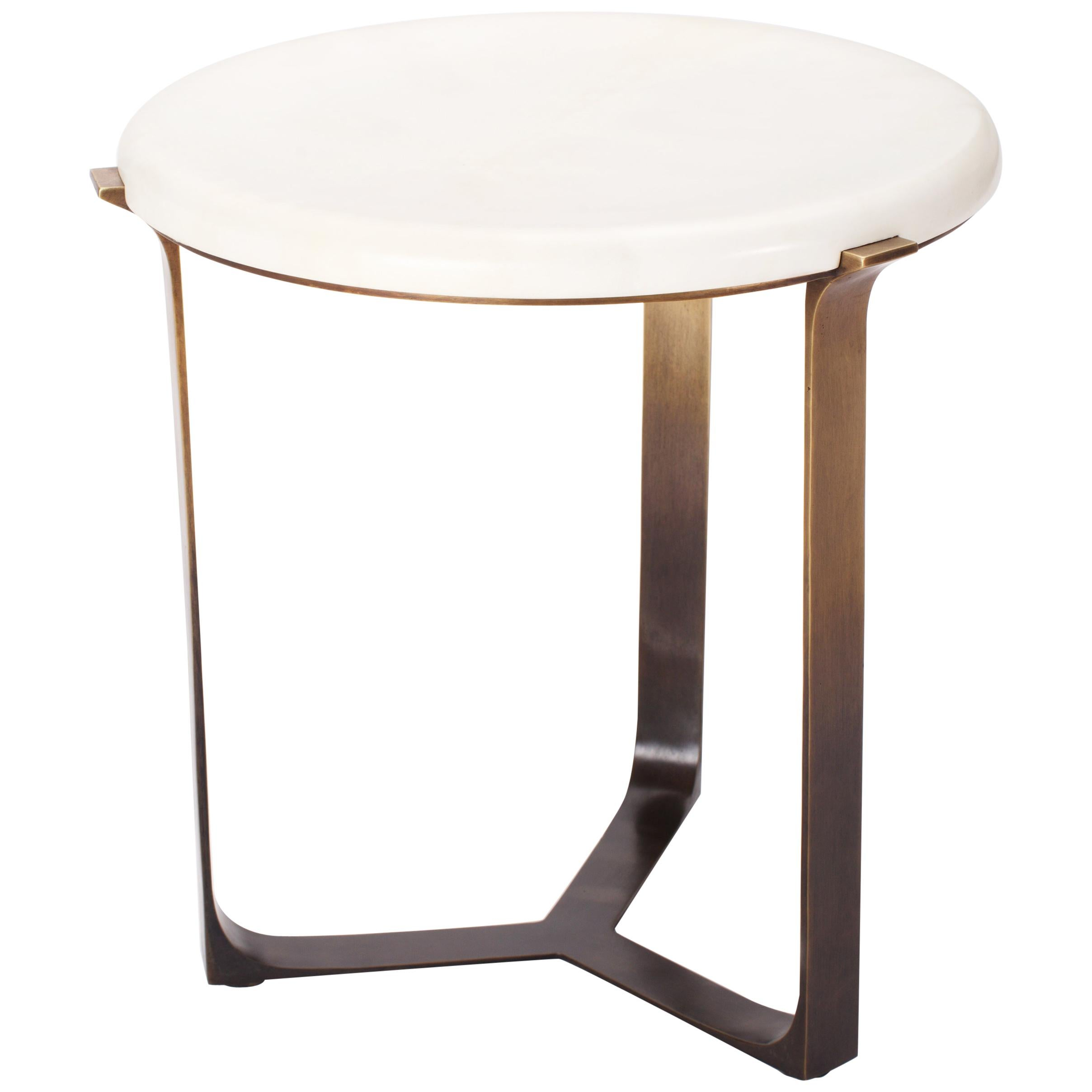 Parchment Top Round Arch Table with Bronze Ombre Finish Base by Elan Atelier