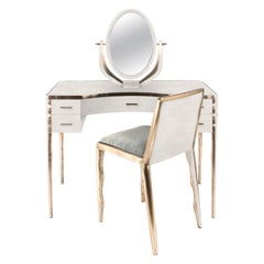 Parchment Vanity with Bronze-Patina Brass Details by R & Y Augousti