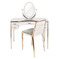 Mother of Pearl Vanity with Bronze-Patina Brass Details by R & Y Augousti