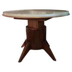 Parchment, Wood & Brass Extensible Midcentury Italian Table Attributed to Adnet