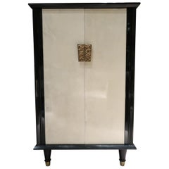 Parchment, Wood, Glass and Brass Handle Door Midcentury French Cabinet, 1950
