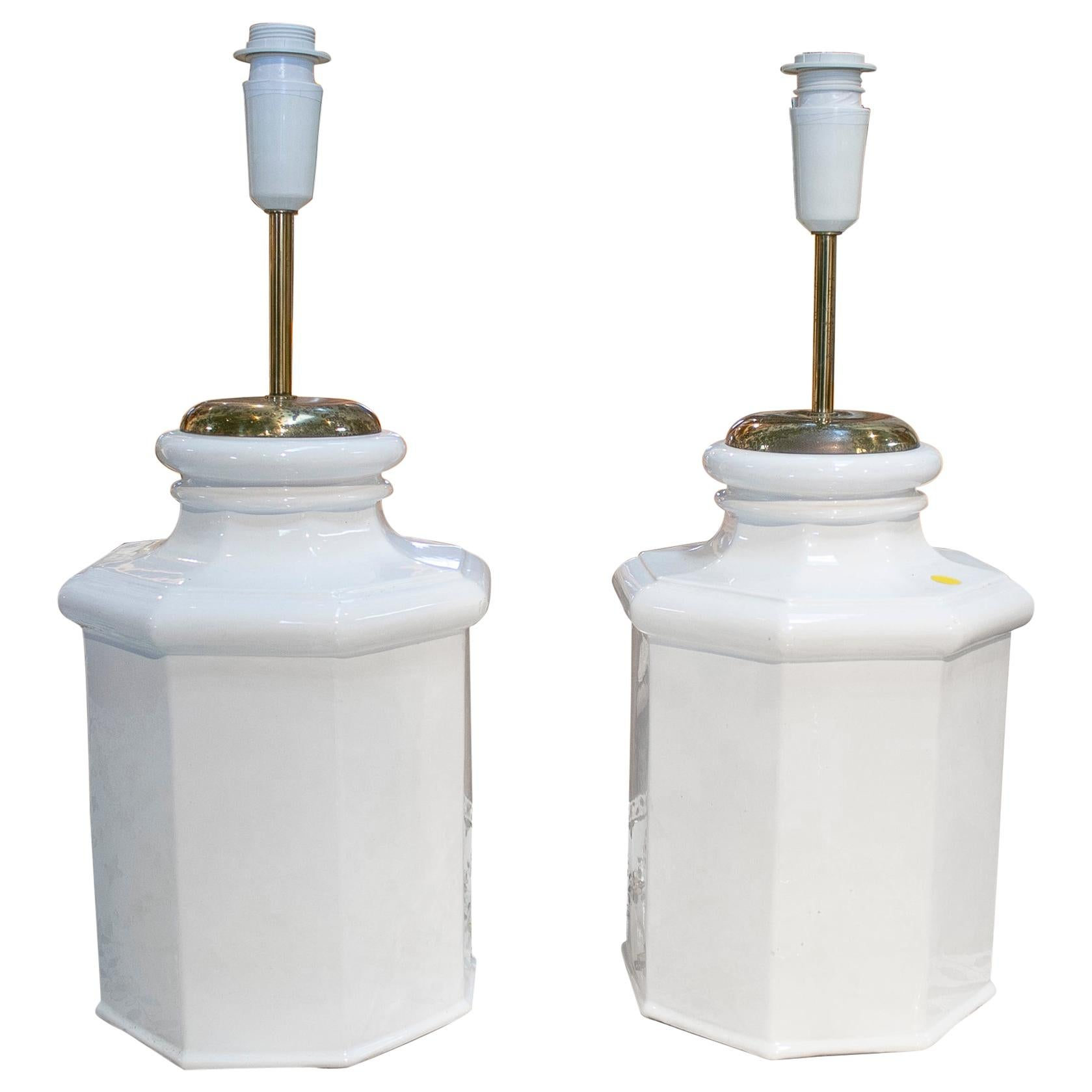 1970s pair of porcelain white lamps