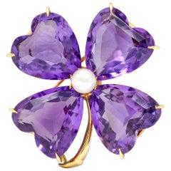Parenti Retro 14 Karat Gold Amethyst Pearl Four Leaf Clover Heart Brooch Pendant