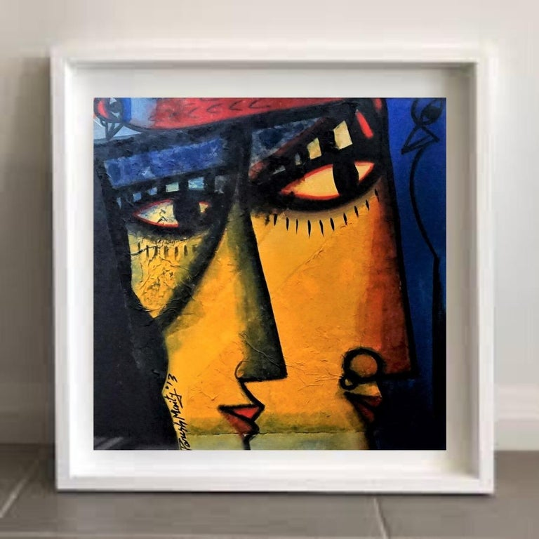 Couple, Oil, Acrylic, Mixed Media on Board, Blue, Yellow, Paresh Maity'In stock' - Contemporary Painting by Paresh Maity