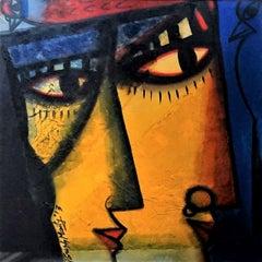 Couple, Oil, Acrylic, Mixed Media on Board, Blue, Yellow, Paresh Maity'In stock'