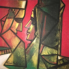 "Couple,Oil Canvas, Red, Yellow,Green by Ace Indian Artist Paresh Maity""In Stock"""