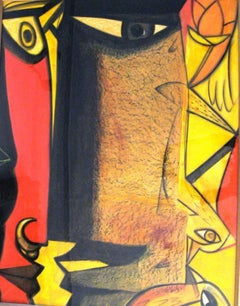 """Mixed Media Painting, Red, Yellow, Brown, Blackcolors by Indian Artist""""In Stock"""""""