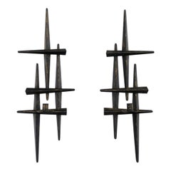 Pari Metal Wall Sculptures / Candle Sconces with Applied Patina