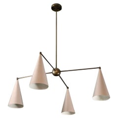 PARI Modern Chandelier in Enamel and Bronze, Handmade by Blueprint Lighting NYC