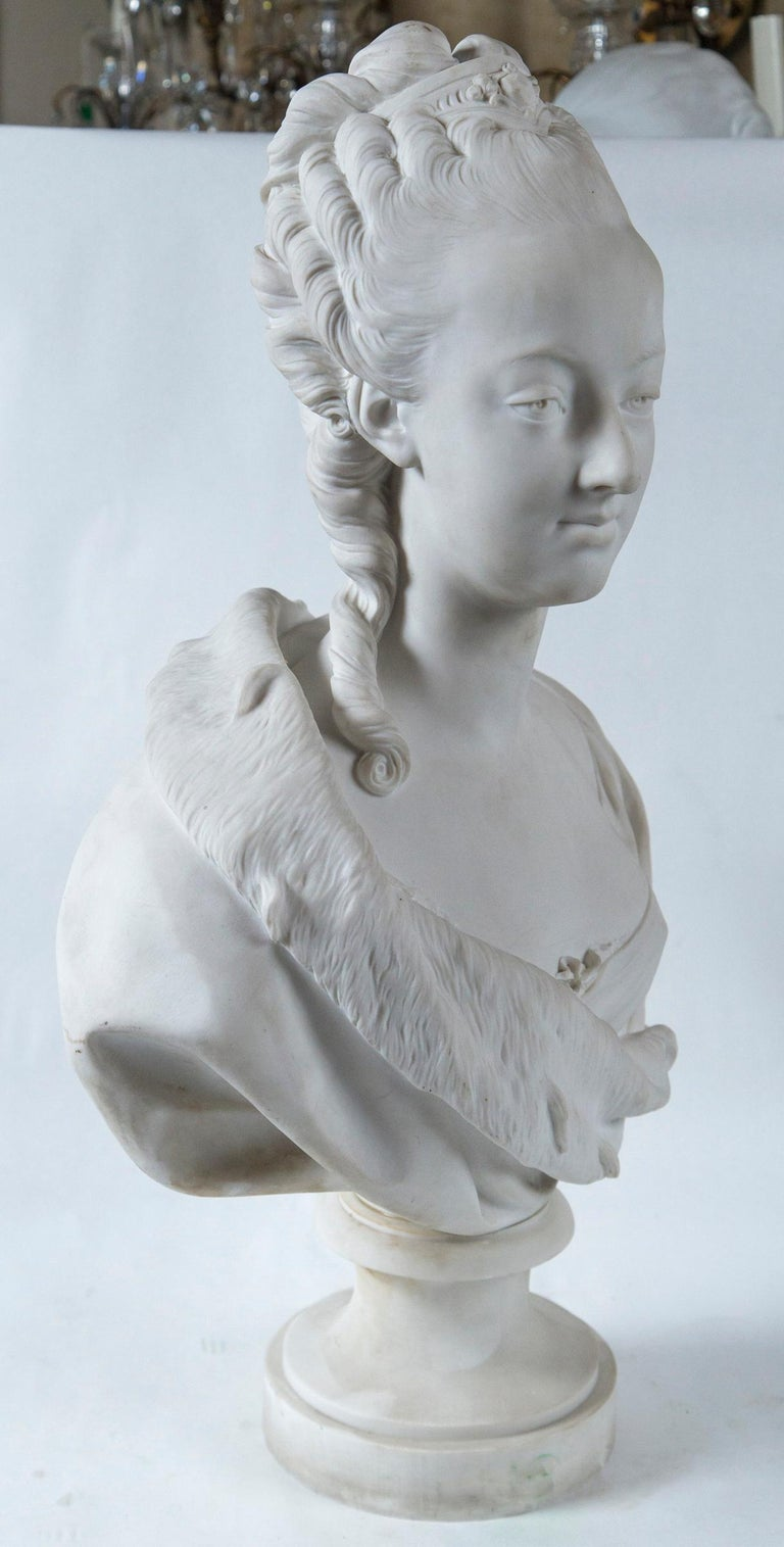 French Parian Bust of Noble Woman, Signed Pajou For Sale