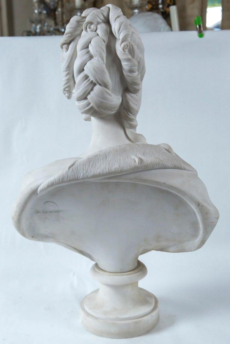 Porcelain Parian Bust of Noble Woman, Signed Pajou For Sale
