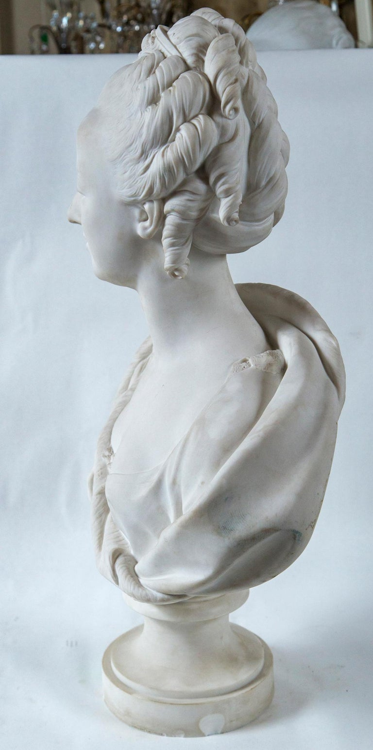 Parian Bust of Noble Woman, Signed Pajou For Sale 1