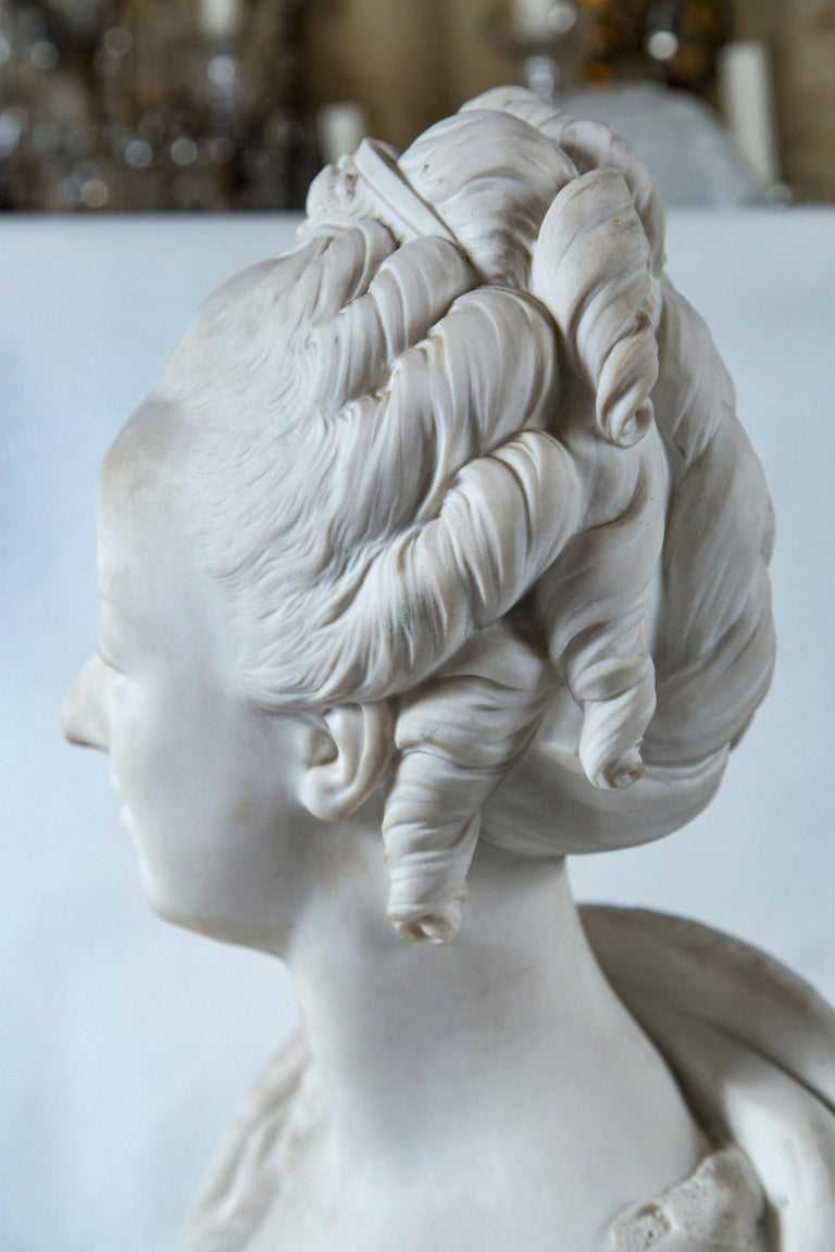 Parian Bust of Noble Woman, Signed Pajou For Sale 2