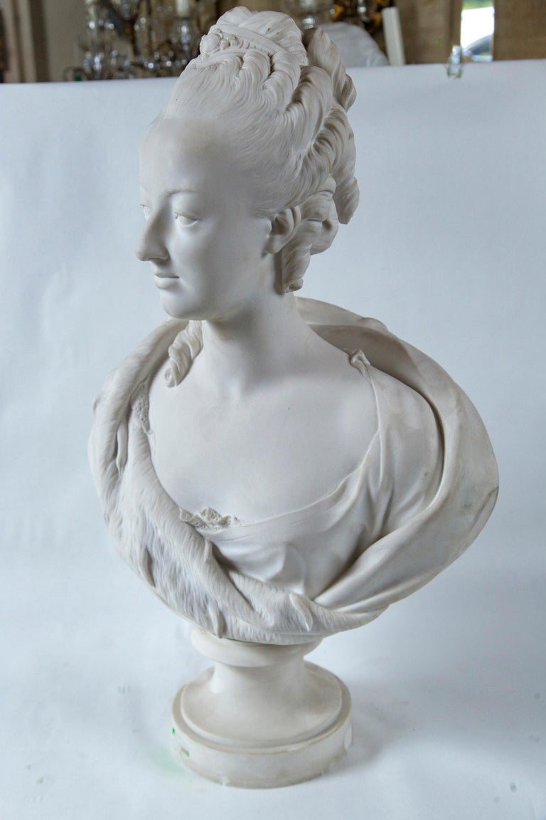 Parian Bust of Noble Woman, Signed Pajou For Sale 3