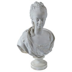 Parian Bust of Noble Woman, Signed Pajou