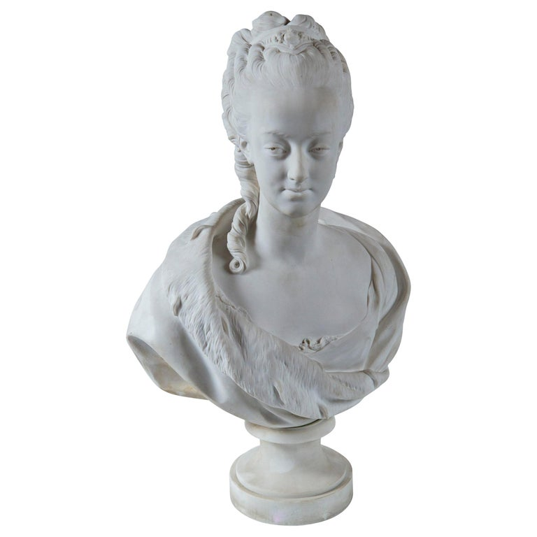 Parian Bust of Noble Woman, Signed Pajou For Sale