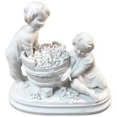 Parian Porcelain Sculpture of Children Making Wine
