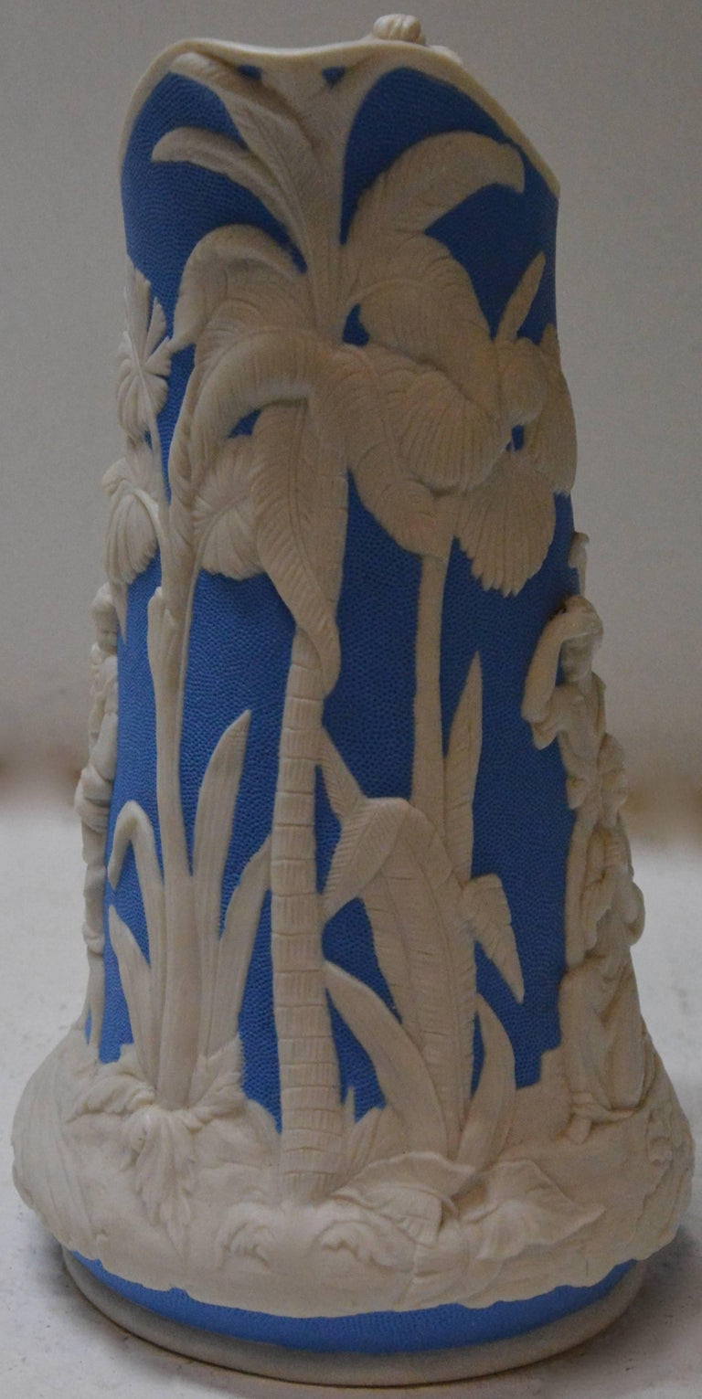 Victorian Parian Ware Pitcher, Blue and White, circa 1850s For Sale