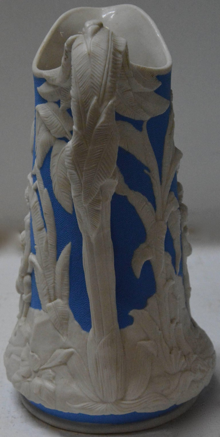Hand-Crafted Parian Ware Pitcher, Blue and White, circa 1850s For Sale