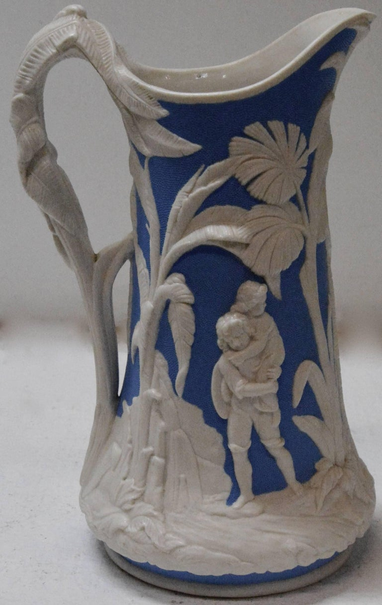 Parian Ware Pitcher, Blue and White, circa 1850s In Good Condition For Sale In Cookeville, TN