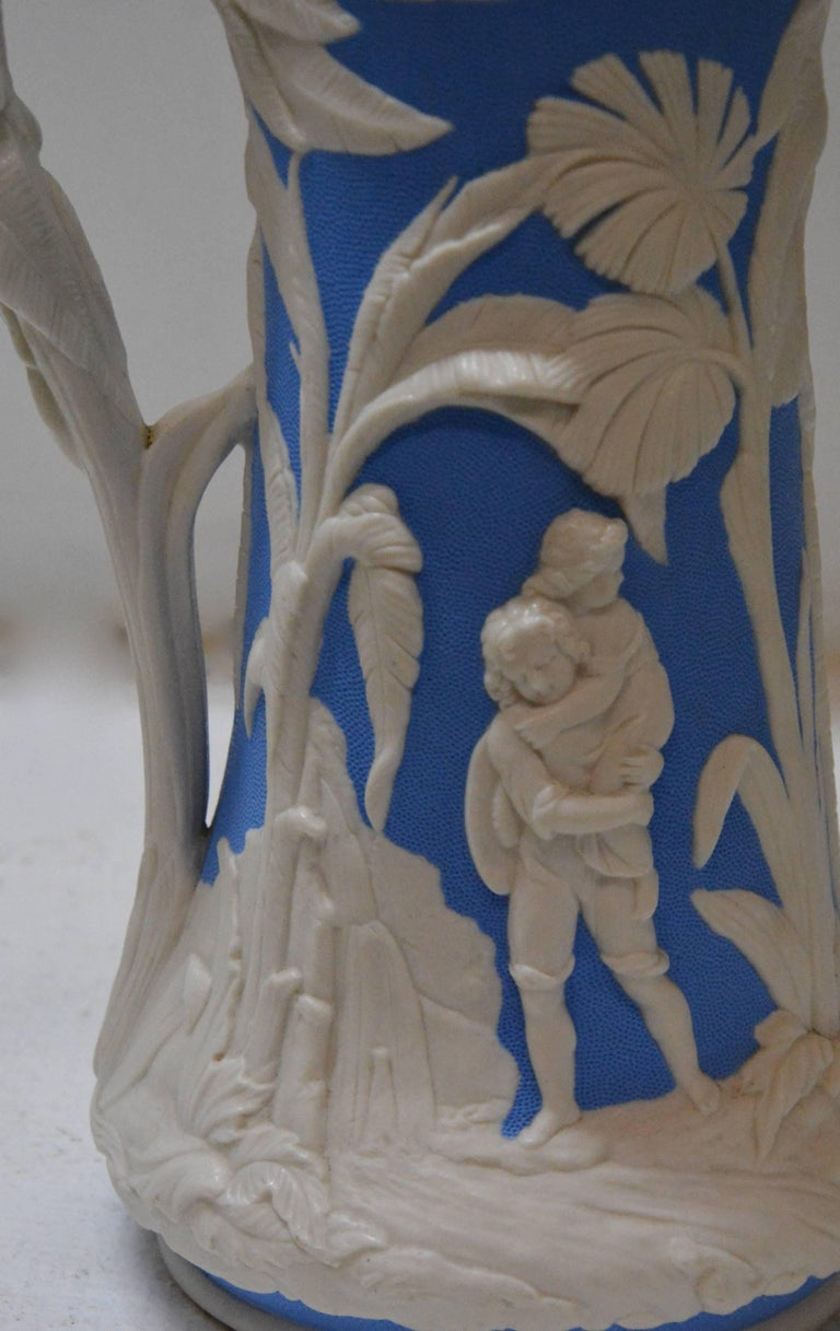 Mid-19th Century Parian Ware Pitcher, Blue and White, circa 1850s For Sale