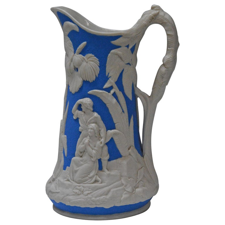 Parian Ware Pitcher, Blue and White, circa 1850s For Sale