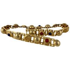 Paris 1960s Era Gold-Tone Metal and Bakelite Jeweled Medallion Handmade Belt