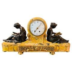 Paris 19th Century Mantle Clock with 2 Reading Women Bronze, Very Heavy