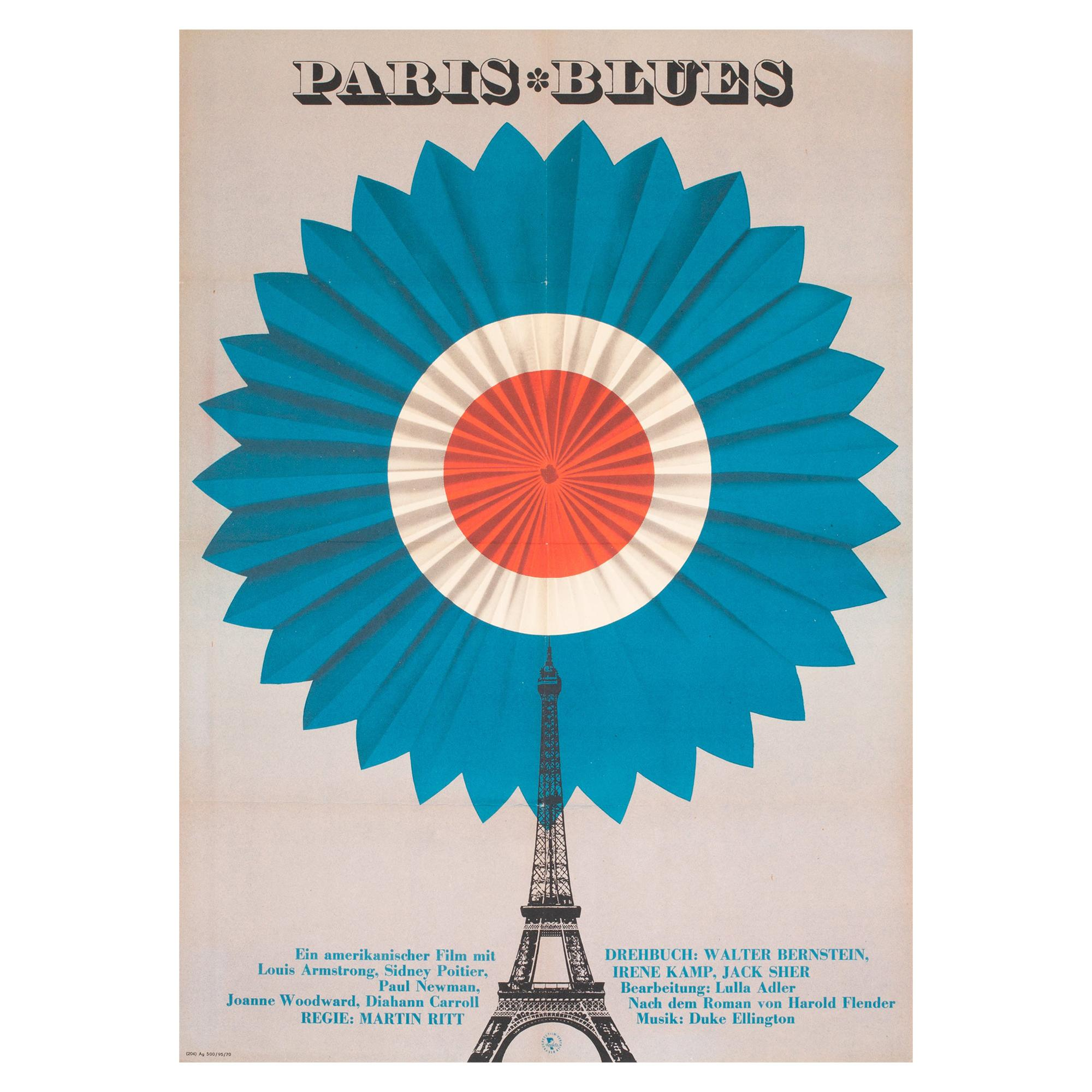 Paris Blues Original East German Film Movie Poster, 1970