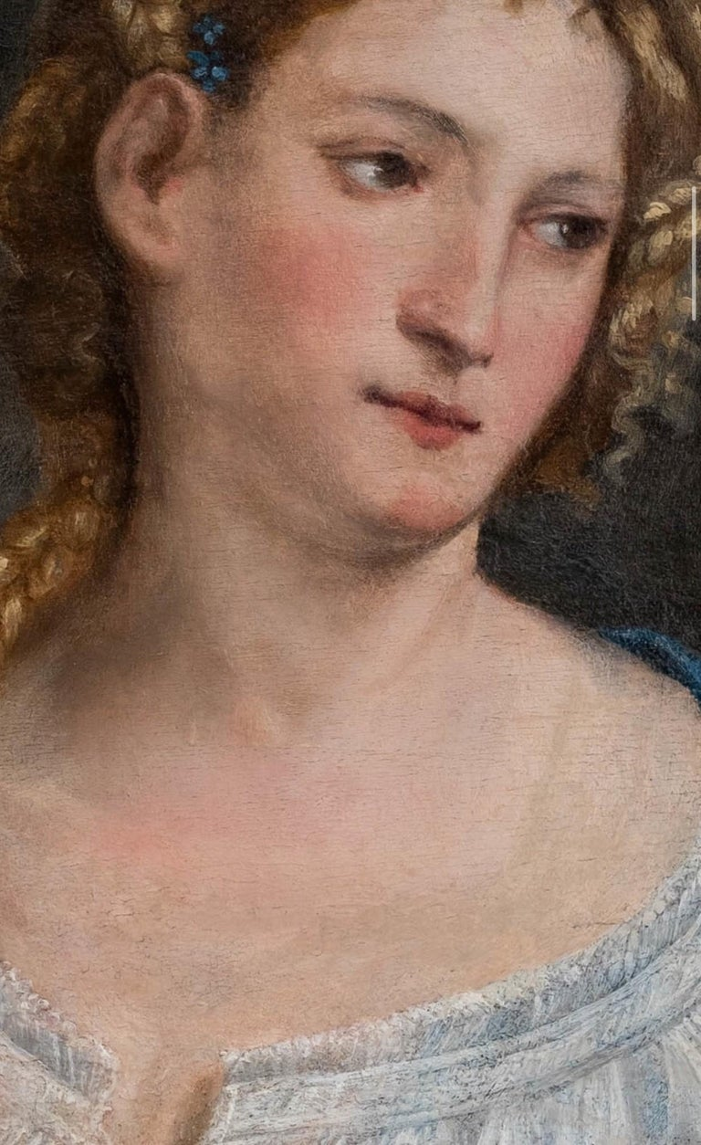 16th Century Italian Renaissance Extremely Rare Oil Painting Portrait of a Lady - Brown Figurative Painting by Paris Bordone