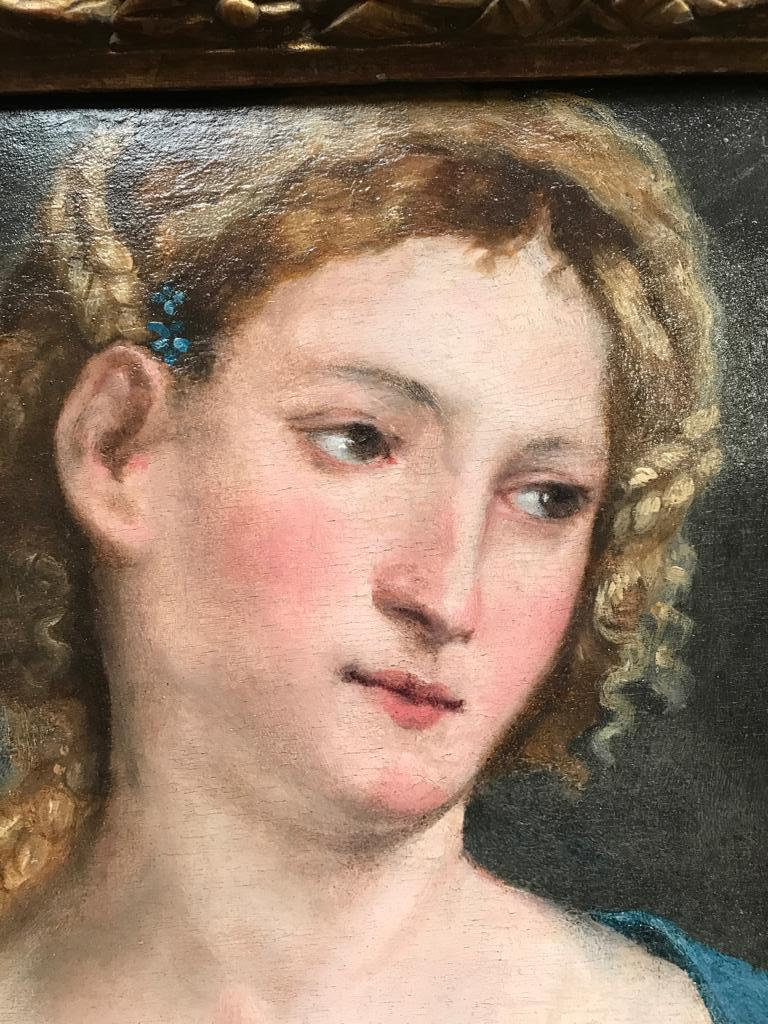 Paris BORDONE (1500-1571)  Extremely Rare Renaissance Portrait of a Lady  oil on poplar panel  12,5 x 10 inches; 16,5 x 14 inches, inc. frame  This richly toned poetic work has been inspected at first hand by the Paris Bordone scholar Andrea Donati,