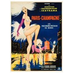 """Paris-Champagne"" Original Vintage Movie Poster, French, 1964"