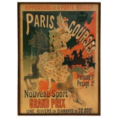 """Paris Courses"" Color Lithograph Poster by Jules Chéret, 1890"
