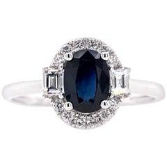 Paris Craft House 1.02 Carat Sapphire Diamond Ring in 18 Karat White Gold