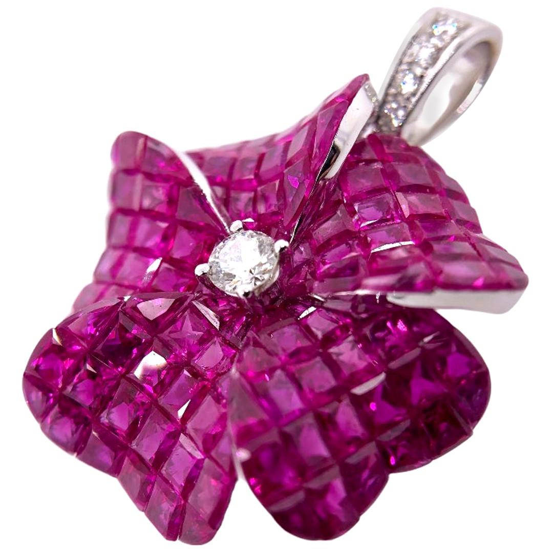 Paris Craft House 10.55 Carat Ruby Diamond Flower Pendant in 18 Karat White Gold
