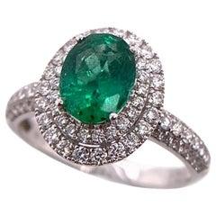 Paris Craft House 1.10 Carat Oval Emerald Diamond Halo Ring in 18 Karat Gold