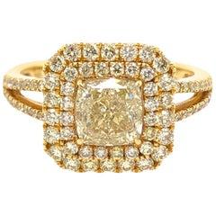 Paris Craft House 1.12 Carat Yellow Diamond Ring in 18 Karat Yellow Gold