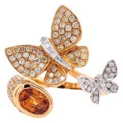 Paris Craft House 1.13 Carat Citrine Diamond Butterfly Ring in 18 Karat Gold