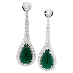 Paris Craft House 11.48 Carat Emerald Diamond Earring in 18 Karat White Gold
