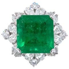 Paris Craft House 12.02 Carat GRS Certified Emerald Diamond Ring in 18K Gold