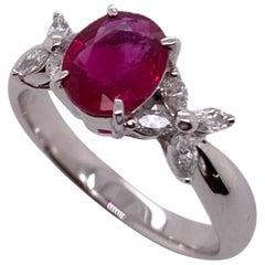 Paris Craft House 1.21 Carat Burma Vivid Red Ruby Diamond Ring in Platinum