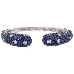 Paris Craft House 12.71 Carat Blue Sapphire Diamond Cuff Bangle 18 Karat Gold